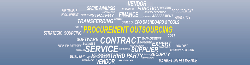 Word Cloud / Cluster of Words listing procurement activities which are usually part of outsourced procurement services
