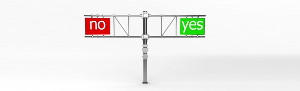 Pole with Yes and No indicate two choices - Strategic Sourcing consulting firms can help with Opportunity Assessment
